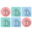 outlined icon of locked padlock with parallel and vector image vector image