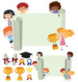 paper template with happy kids and trophy vector image vector image