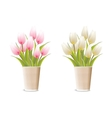 paper vase with pink tulips vector image