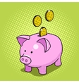 Piggy bank hand drawn pop art style vector image vector image