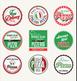pizza retro badges vector image