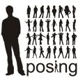 Posing people silhouettes vector | Price: 1 Credit (USD $1)