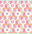 retro floral geometric cube mosaic abstract vector image