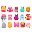 school bag and backpack for girls isolated icons vector image