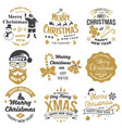 set merry christmas and happy new year stamp vector image