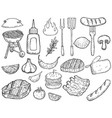 set of hand drawn grill design elements meat vector image
