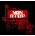 sign non-stop music with trumpet and saxophone vector image vector image