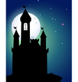 Silhouette of castle under full moon vector image