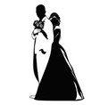 silhouettes of the bride hugging the groom in the vector image vector image