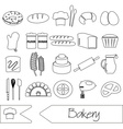 Simple black bakery items outline icons set eps10 vector image