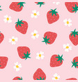 strawberry flowers seamless pattern vector image