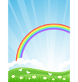 summer landscape with a rainbo vector image vector image