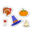 thanksgiving day symbols stickers flat set vector image