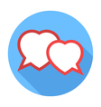 Two hearts speech bubble Flat Design icon vector image
