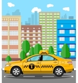 Urban cityscape with taxi cab vector image vector image