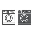 washing machine line and glyph icon electronic vector image vector image