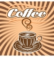retro poster with cup of coffee and curlicues vector image
