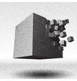 Dotwork raster cube explosion vector image