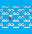 3d glasses and soda pattern on blue vector image