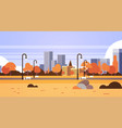 autumn urban yellow park outdoors city buildings vector image