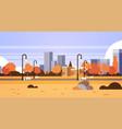 autumn urban yellow park outdoors city buildings vector image vector image