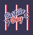 bastille day celebration card with flags vector image
