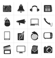 Black Communication and media icons vector image vector image