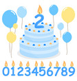 blue birthday cake balloons and candles vector image vector image