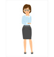 cartoon smiling businesswoman thinks vector image