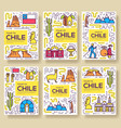 chile brochure cards thin line set country vector image
