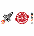 collage space shuttle icon with distress pitcairn vector image vector image