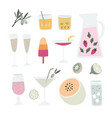 collection hand drawn alcoholic drinks vector image