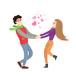 cute lovers merrily hold each others stretch hands vector image