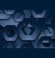 dark blue tech paper hexagons abstract background vector image vector image