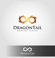 dragon tail - flame logo template vector image