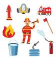 fireman in protection uniform equipment set vector image vector image