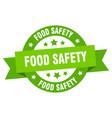 food safety ribbon food safety round green sign vector image vector image