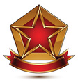 Golden stylized symbol with red star and glamorous vector image