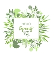 Hello Spring green card design with text in square vector image vector image