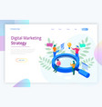 isometric digital marketing strategy web banner vector image vector image