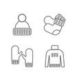 knit icon set knitting clothes knitted samples vector image vector image