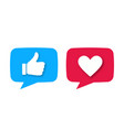 like or thumb up and heart vector image vector image