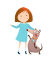 little girl in dress and dog vector image vector image