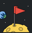 moon with flag in space achievement and success vector image