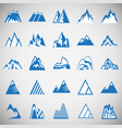 mountain icons set blue on white background for vector image