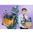 New technologies robot replaces human vector image vector image