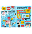 online shopping and ordering process chart vector image vector image