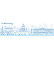 Outline Saint Petersburg skyline with landmarks vector image