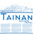 outline tainan taiwan city skyline with blue vector image