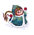Owl Snow-maiden in coat character Watercolor vector image vector image